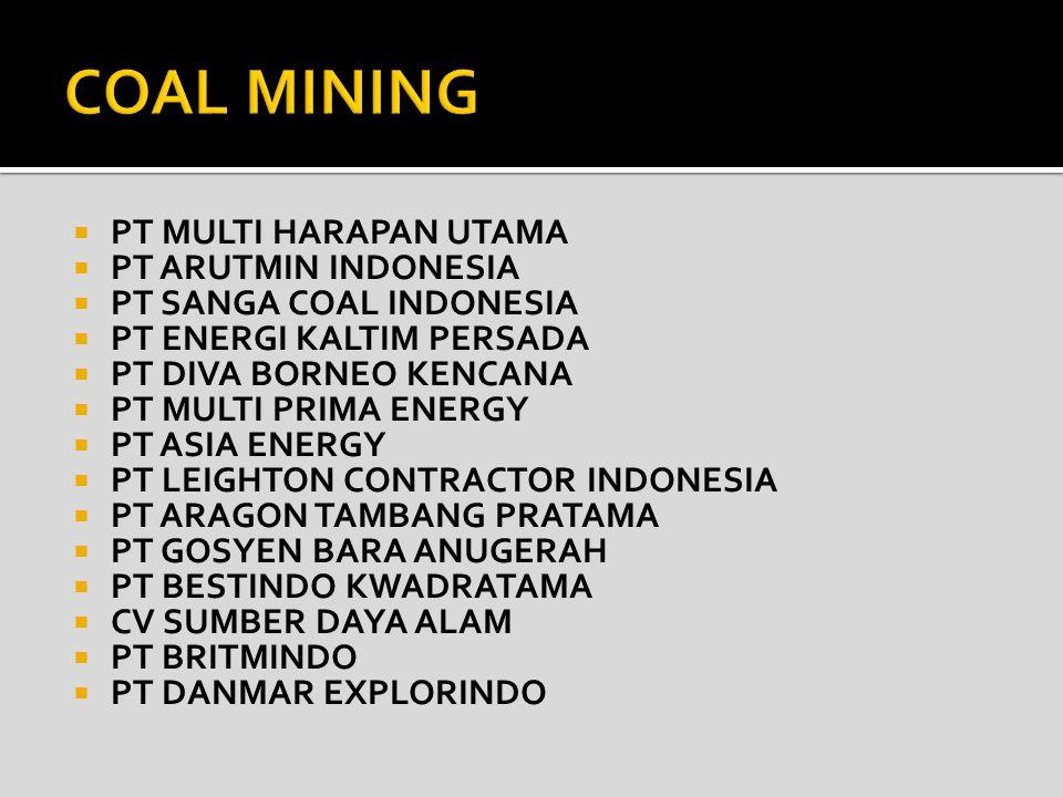 COAL MINING PT MULTI HARAPAN UTAMA PT ARUTMIN INDONESIA