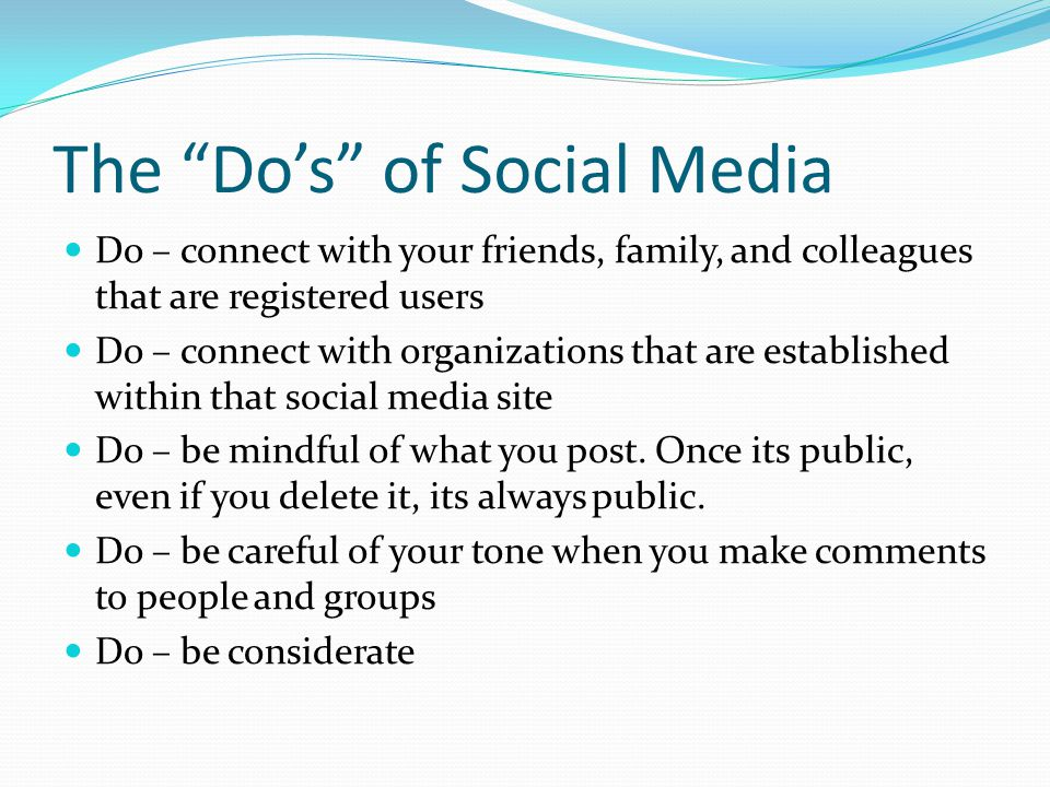 The Do's of Social Media