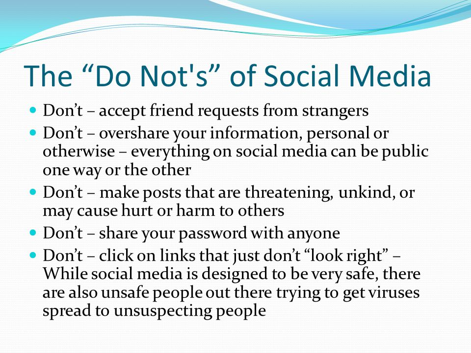 The Do Not s of Social Media