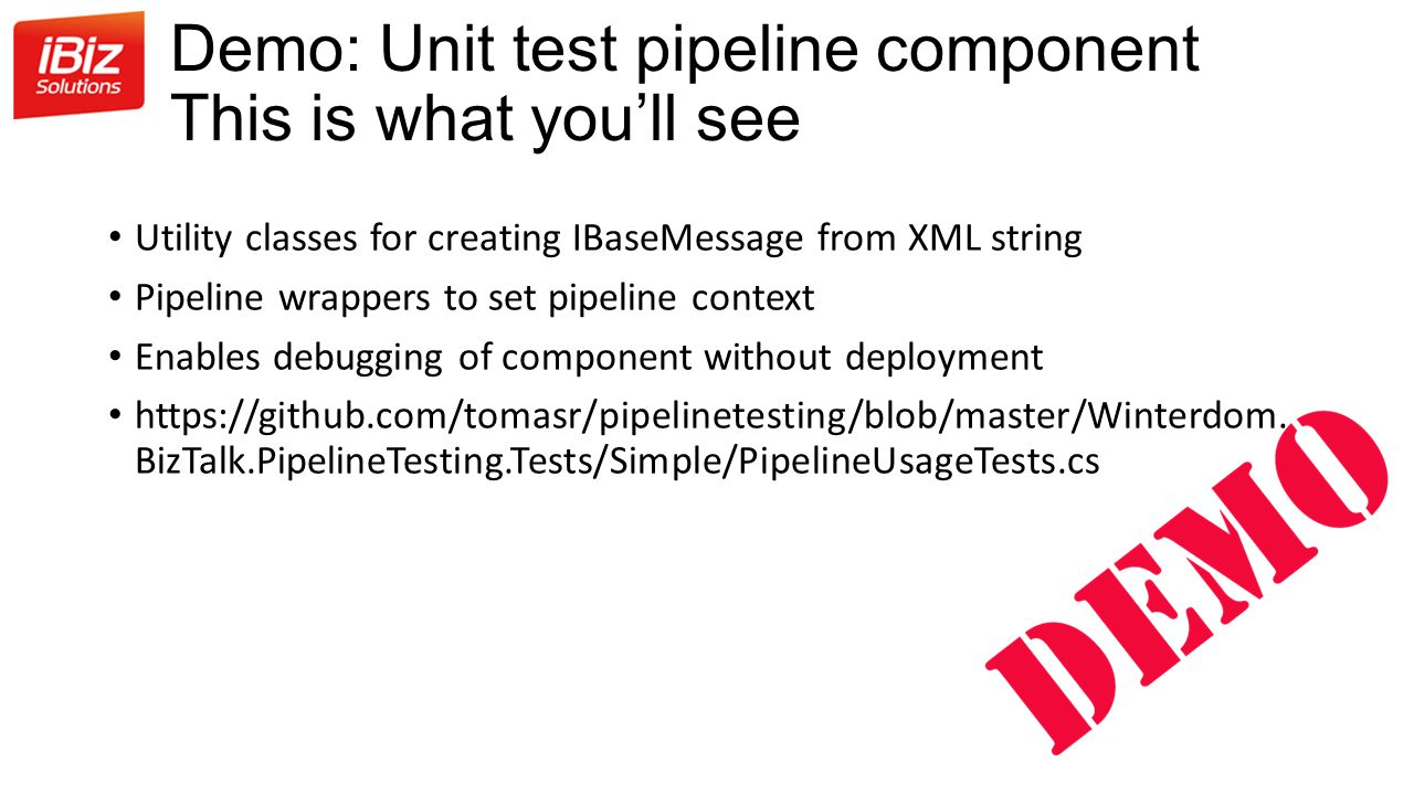 Demo: Unit test pipeline component This is what you'll see