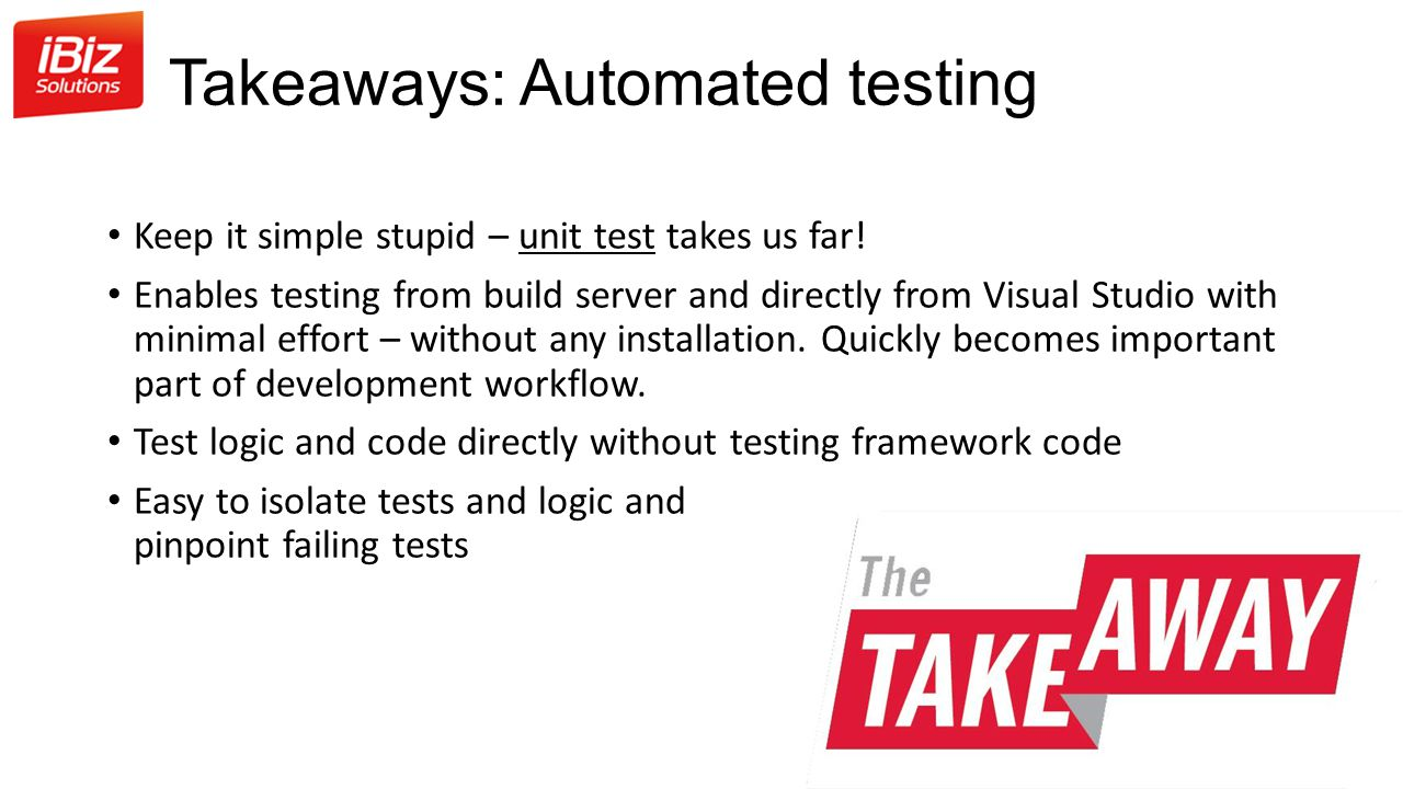 Takeaways: Automated testing