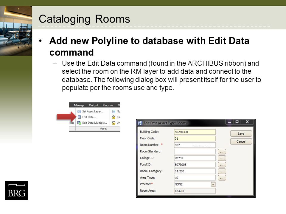 Cataloging Rooms Add new Polyline to database with Edit Data command