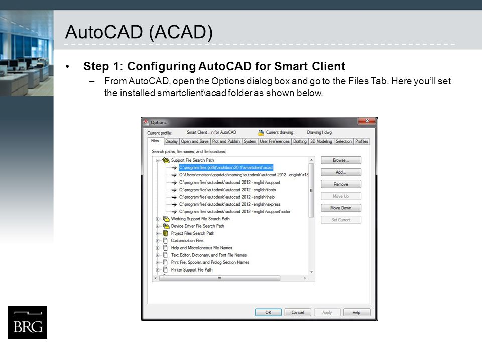 AutoCAD (ACAD) Step 1: Configuring AutoCAD for Smart Client