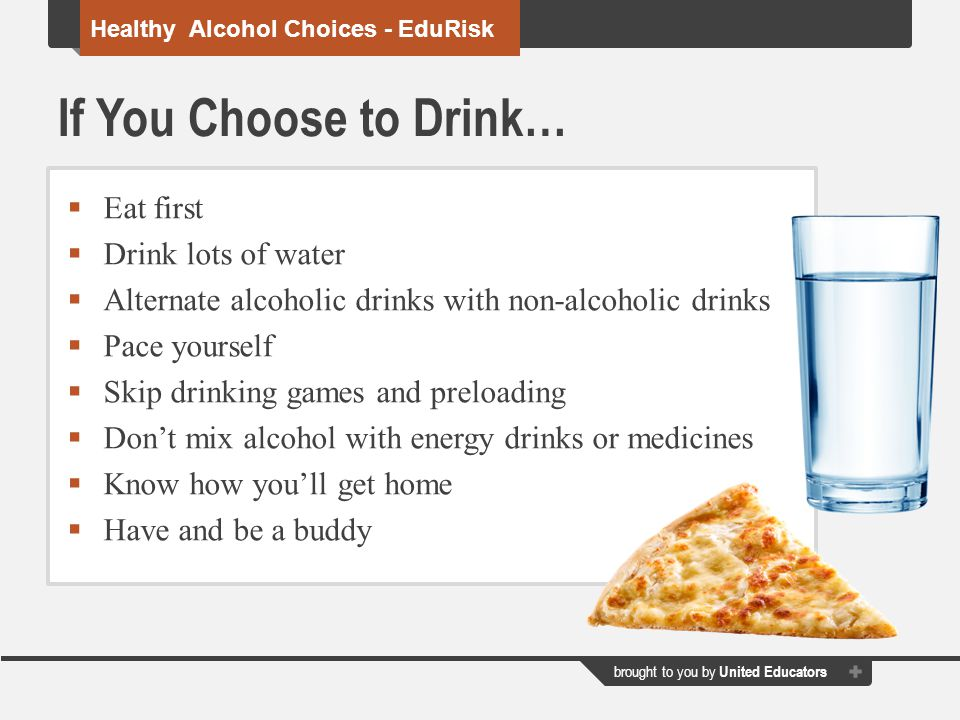 If You Choose to Drink… Eat first Drink lots of water