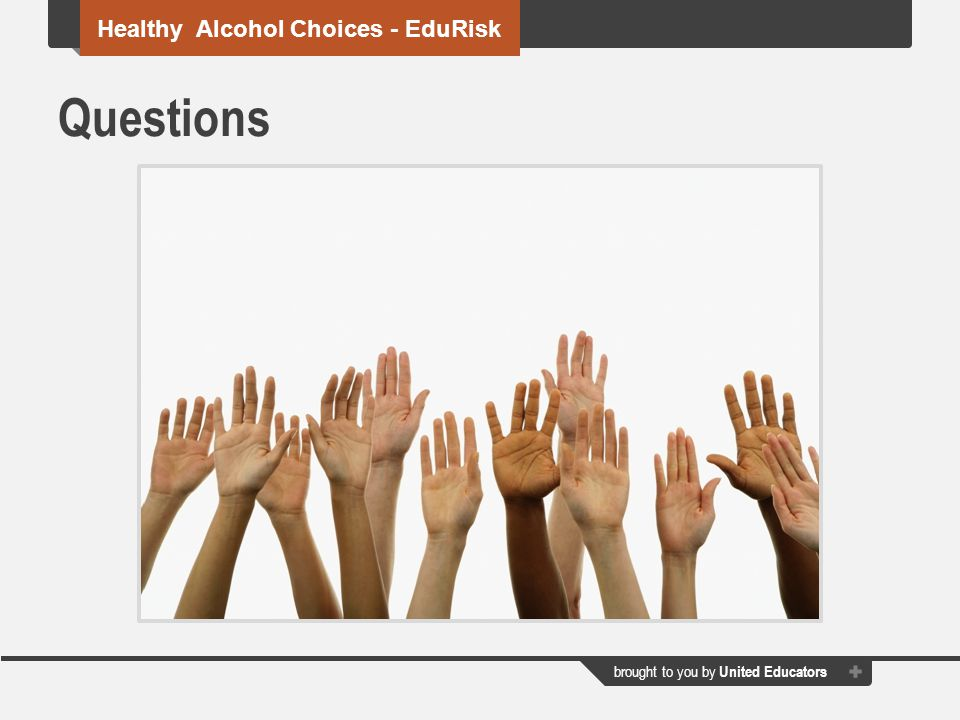 Questions Healthy Alcohol Choices - EduRisk
