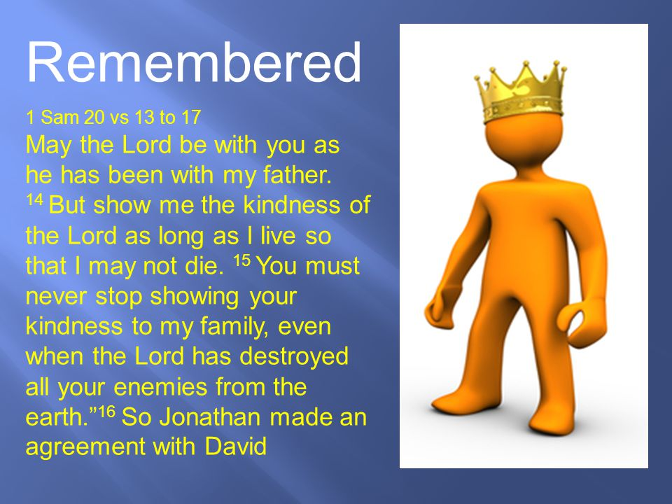 Remembered 1 Sam 20 vs 13 to 17.