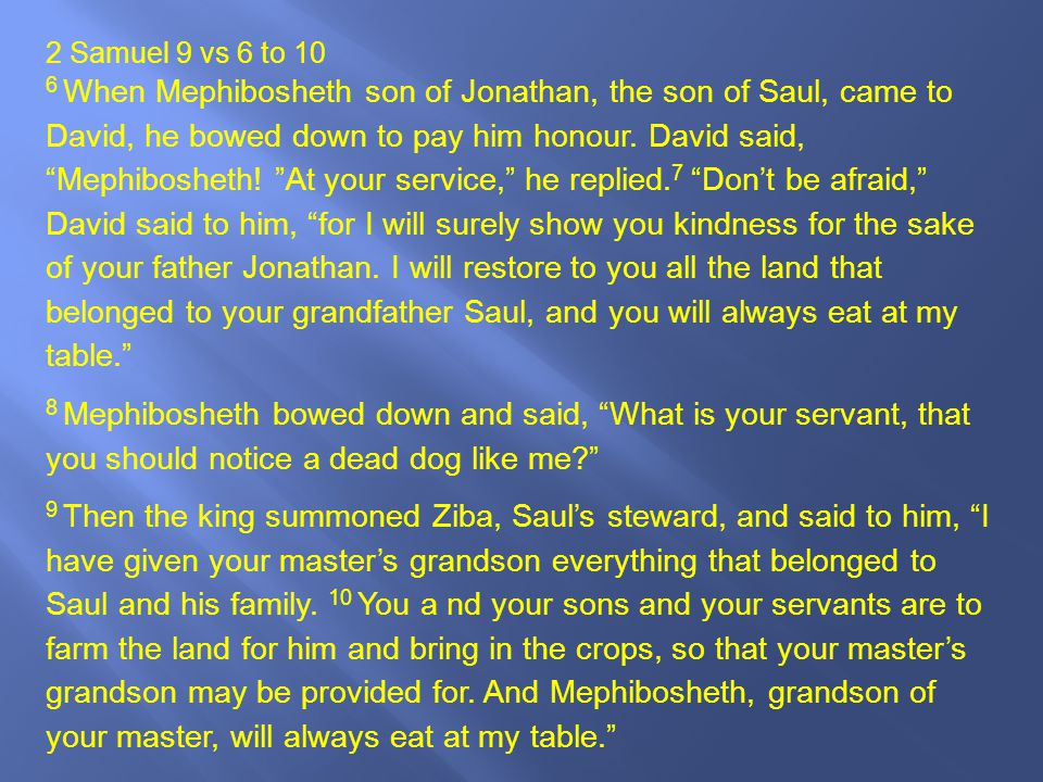 2 Samuel 9 vs 6 to 10