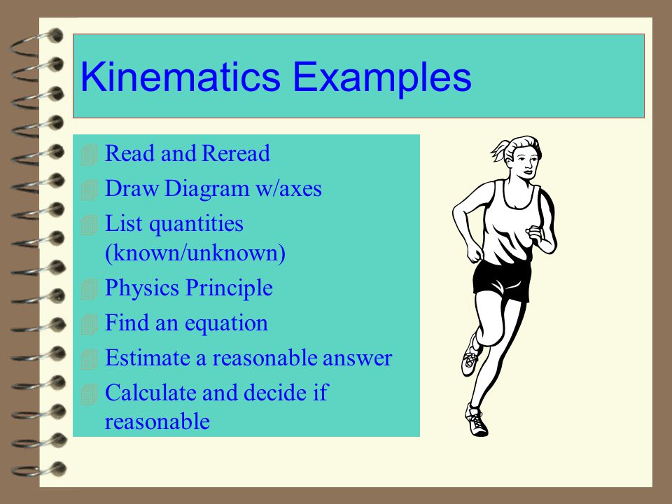 Kinematics Examples Read and Reread Draw Diagram w/axes