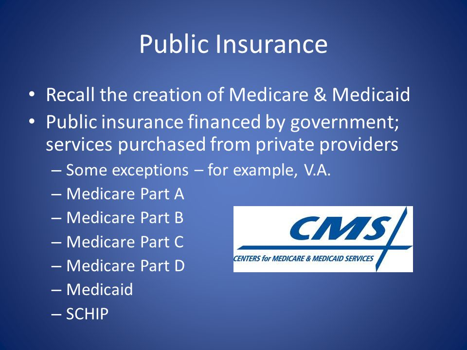 Public Insurance Recall the creation of Medicare & Medicaid