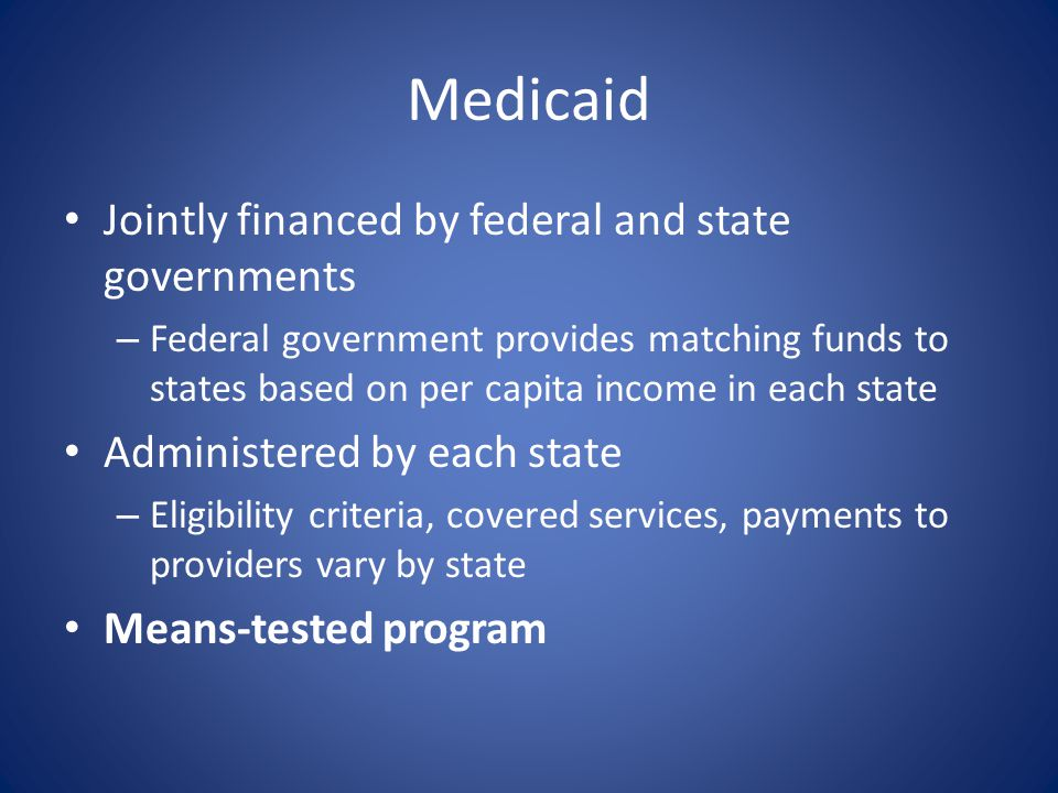 Medicaid Jointly financed by federal and state governments