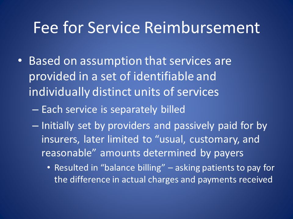 Fee for Service Reimbursement