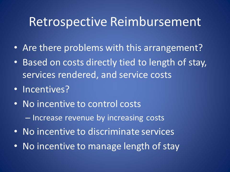 Retrospective Reimbursement