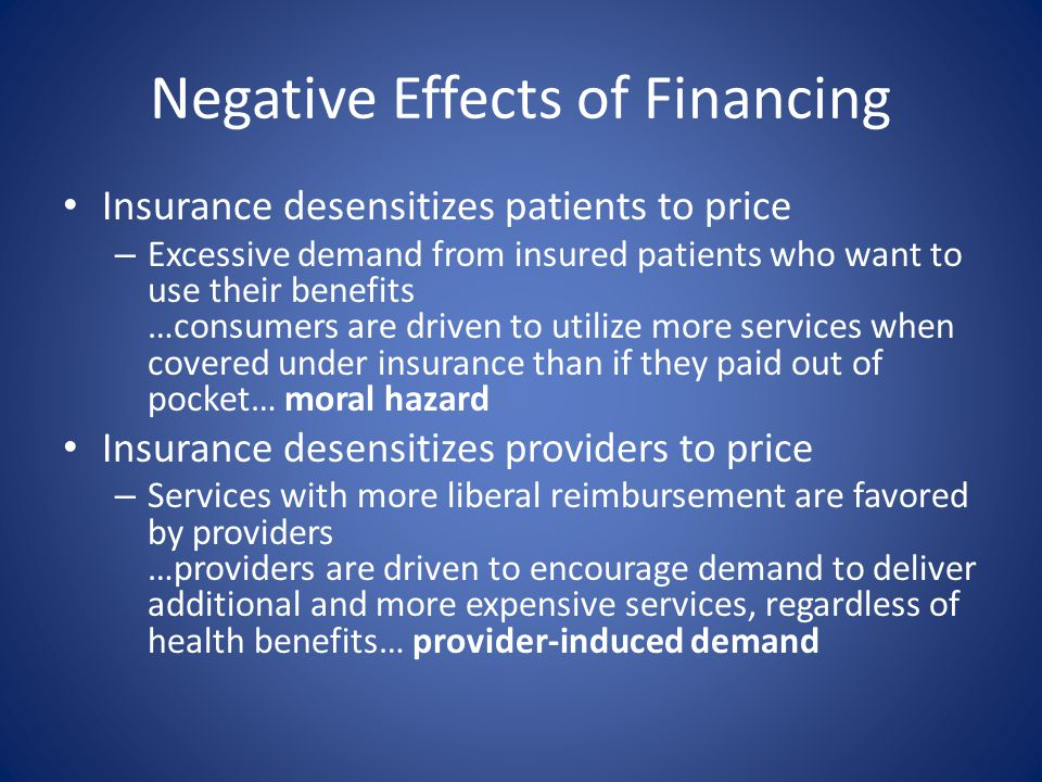 Negative Effects of Financing