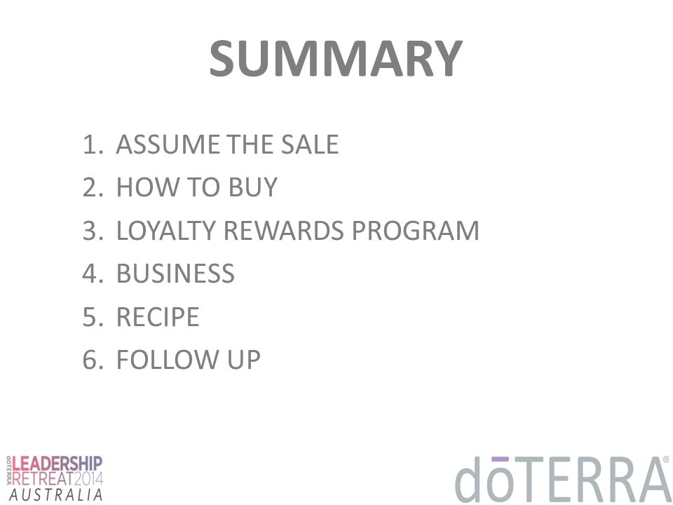 SUMMARY ASSUME THE SALE HOW TO BUY LOYALTY REWARDS PROGRAM BUSINESS