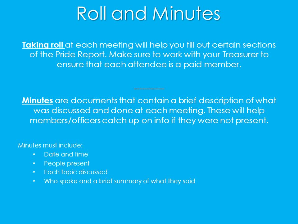Roll and Minutes