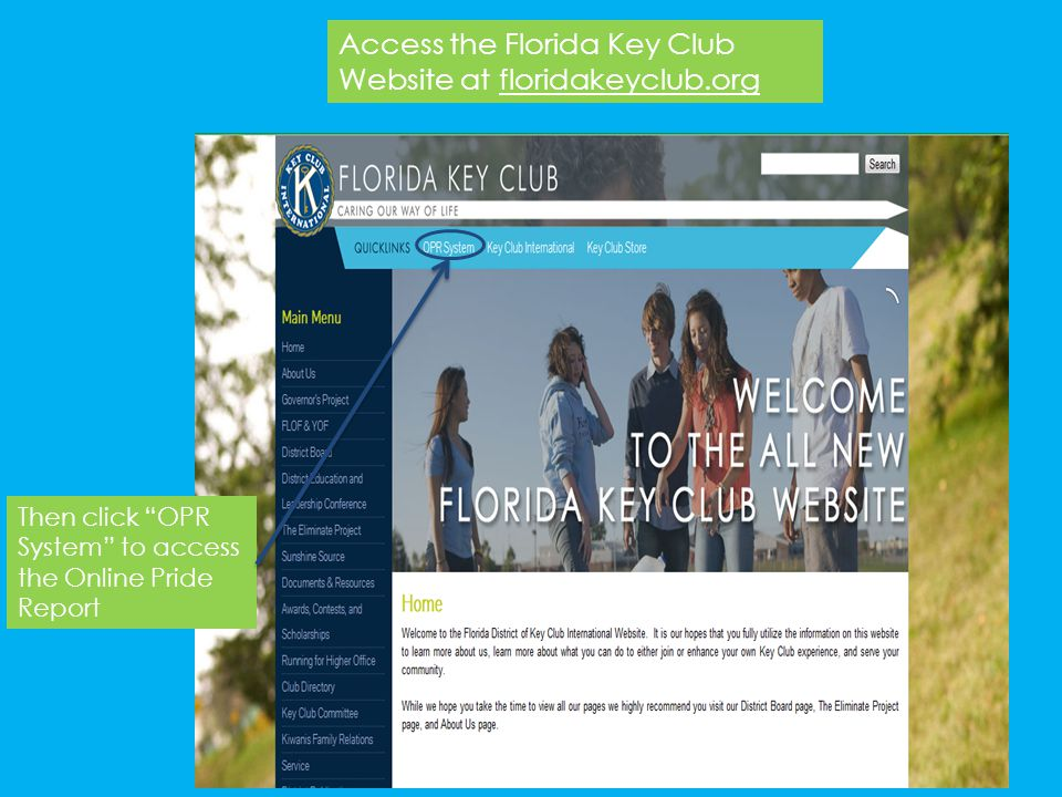 Access the Florida Key Club Website at floridakeyclub.org