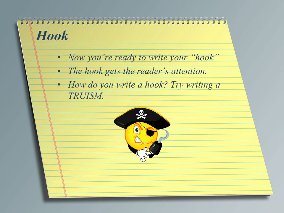 Hook Now you're ready to write your hook