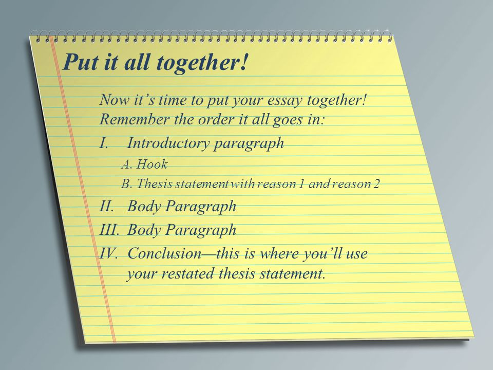 Put it all together! Now it's time to put your essay together! Remember the order it all goes in: Introductory paragraph.