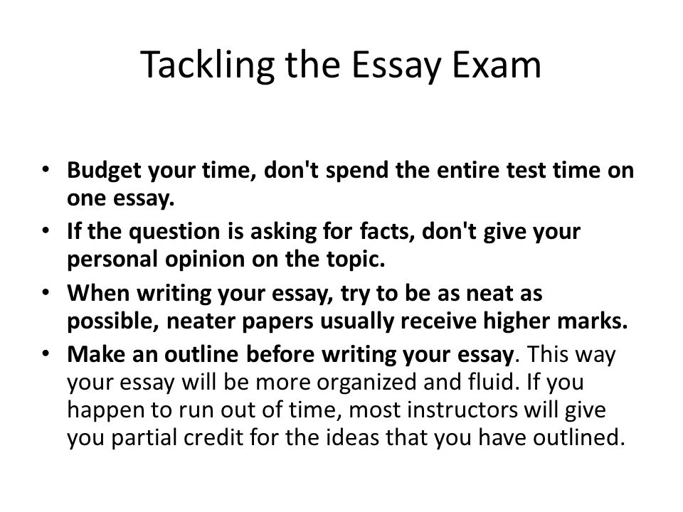 Tackling the Essay Exam