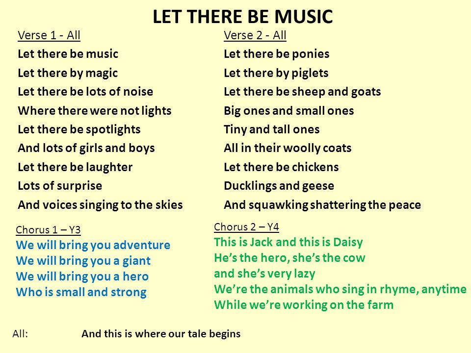 LET THERE BE MUSIC Verse 1 - All Let there be music Let there by magic