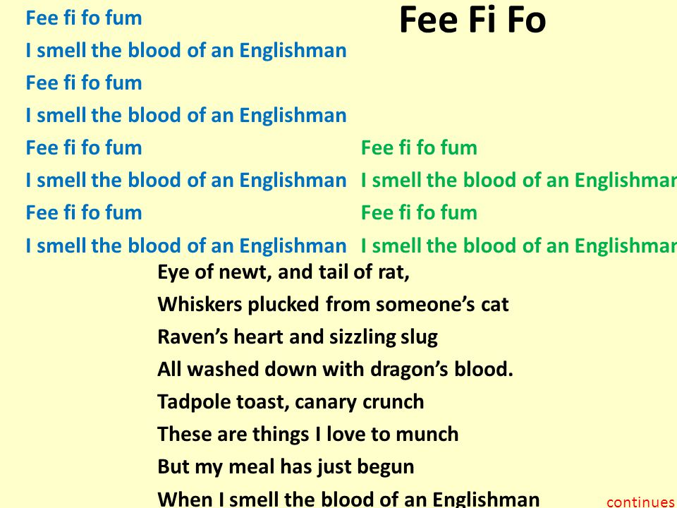 Fee Fi Fo Fee fi fo fum I smell the blood of an Englishman