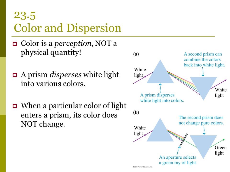 23.5 Color and Dispersion Color is a perception, NOT a physical quantity! A prism disperses white light into various colors.