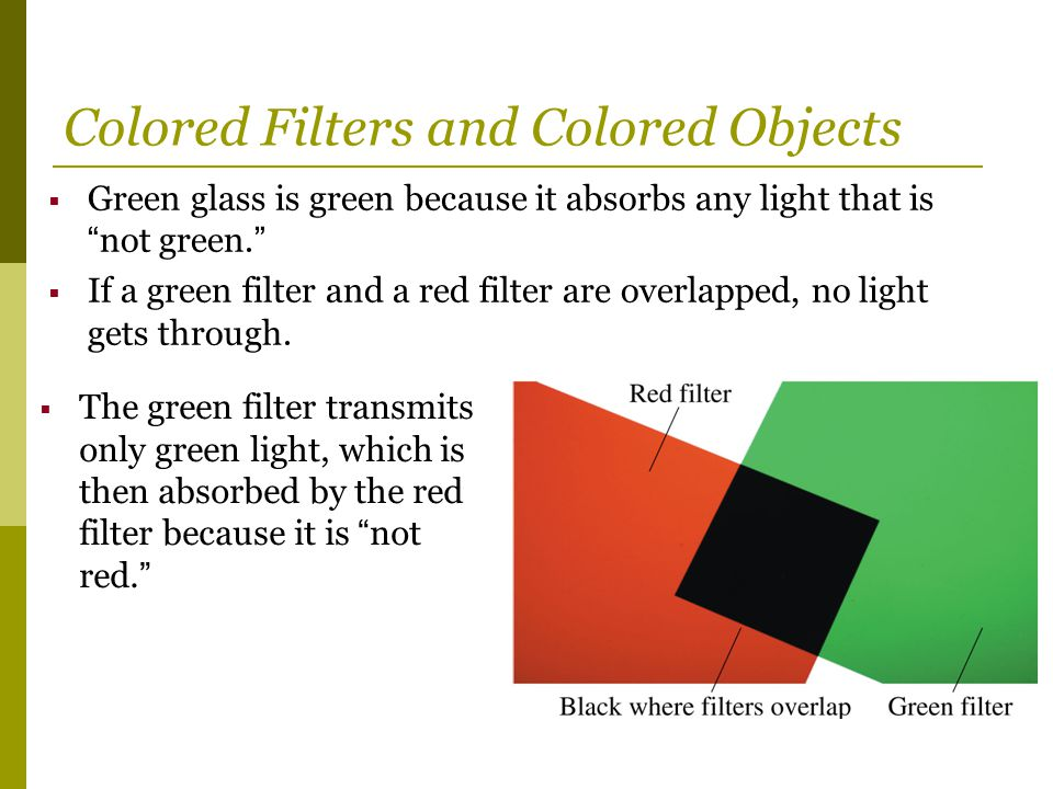 Colored Filters and Colored Objects
