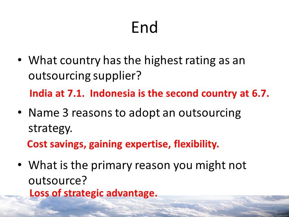 End What country has the highest rating as an outsourcing supplier