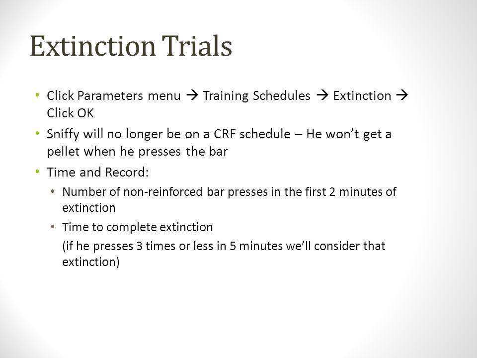 Extinction Trials Click Parameters menu  Training Schedules  Extinction  Click OK.