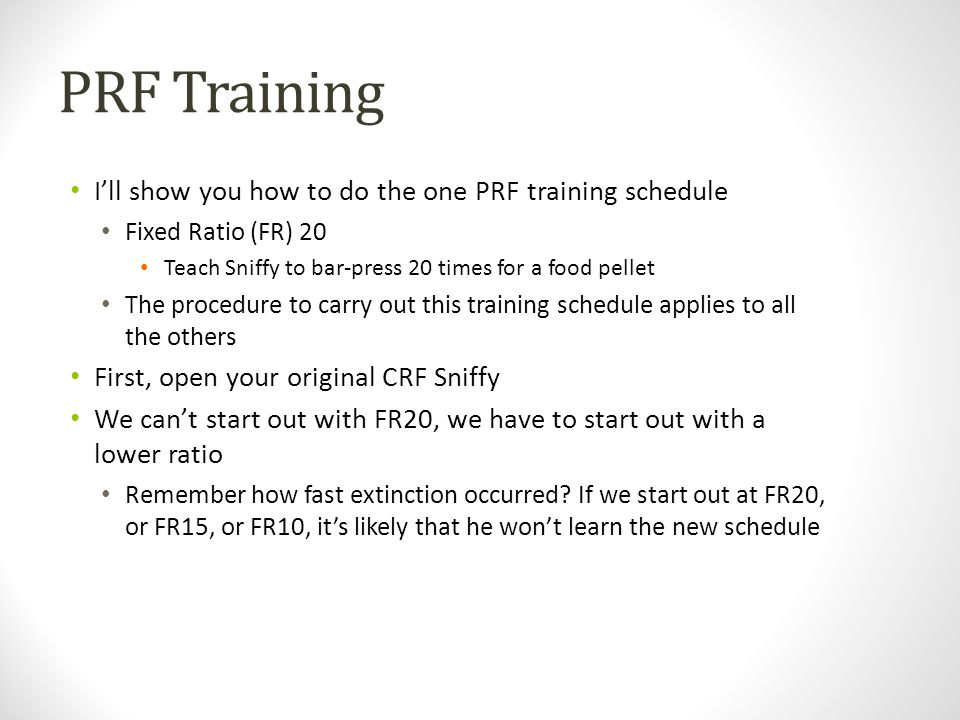 PRF Training I'll show you how to do the one PRF training schedule