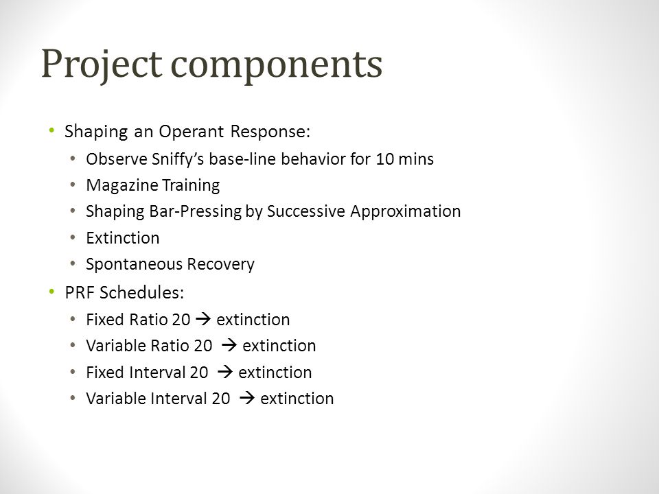 Project components Shaping an Operant Response: PRF Schedules: