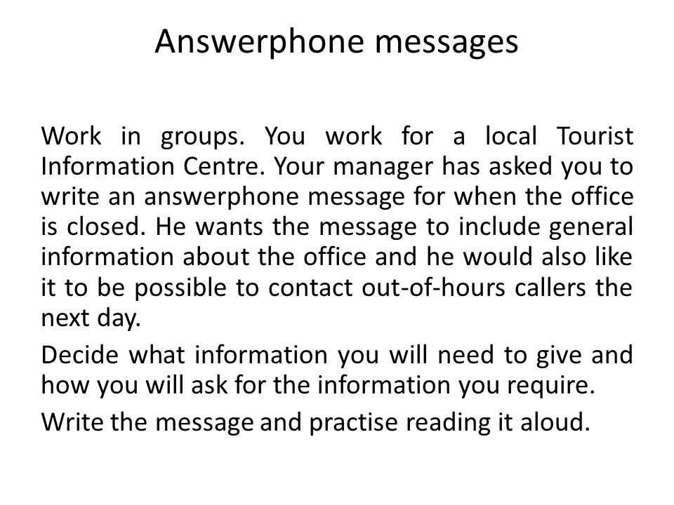 Answerphone messages