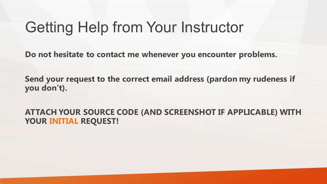 Getting Help from Your Instructor