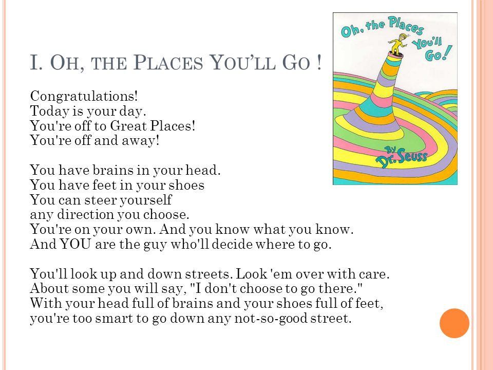 I. Oh, the Places You'll Go !