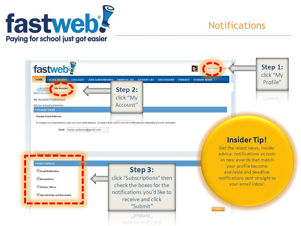 Notifications Insider Tip! Step 3: Step 1: click My Profile