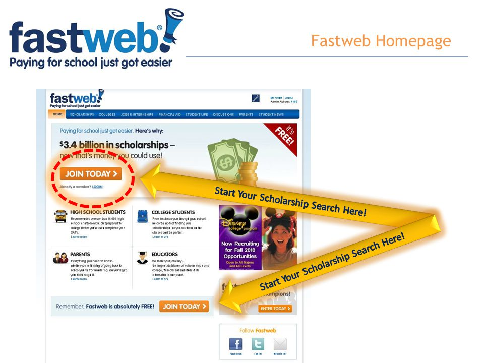 Fastweb Homepage Start Your Scholarship Search Here!