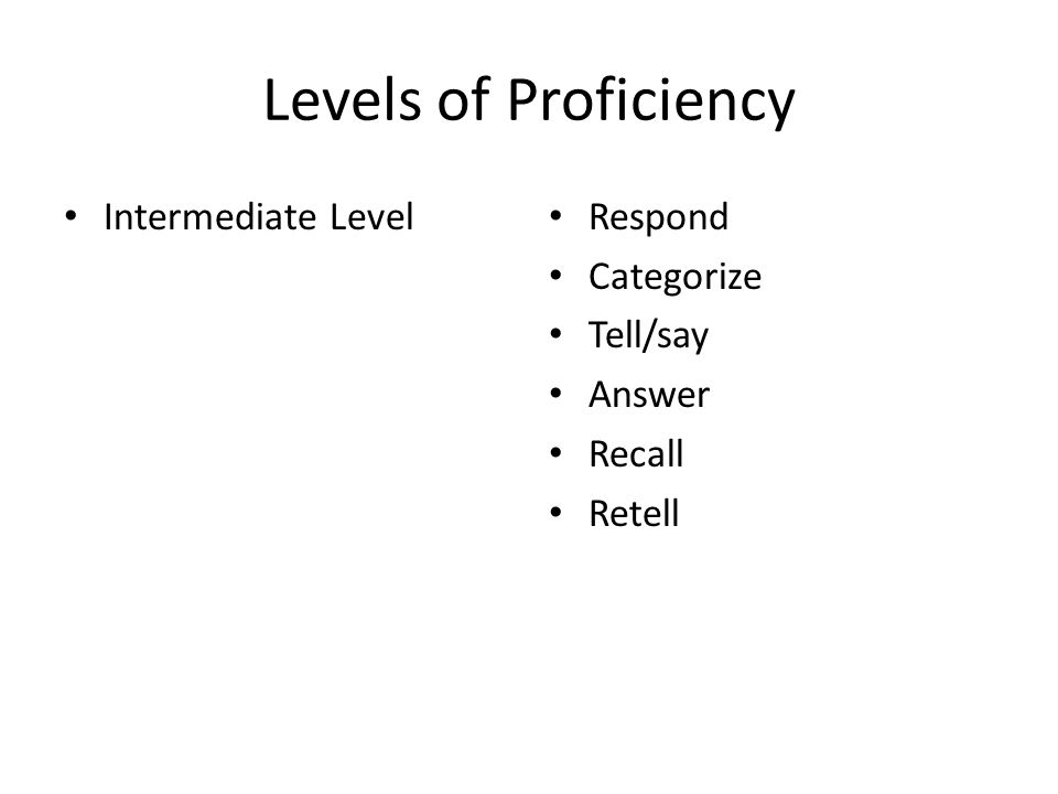 Levels of Proficiency Intermediate Level Respond Categorize Tell/say