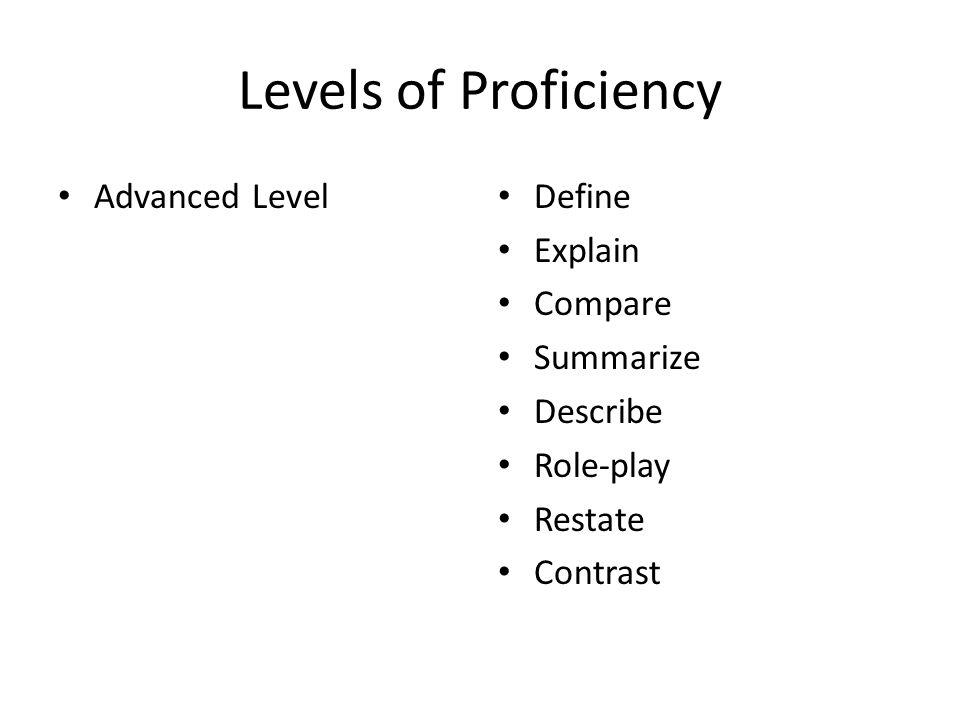 Levels of Proficiency Advanced Level Define Explain Compare Summarize