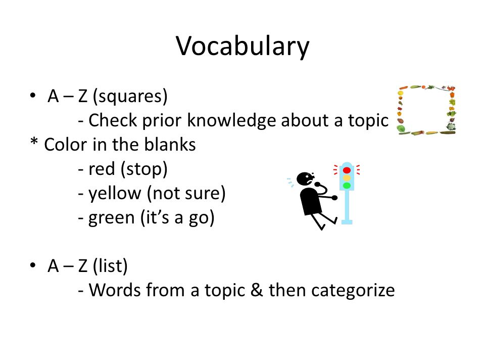 Vocabulary A – Z (squares) - Check prior knowledge about a topic