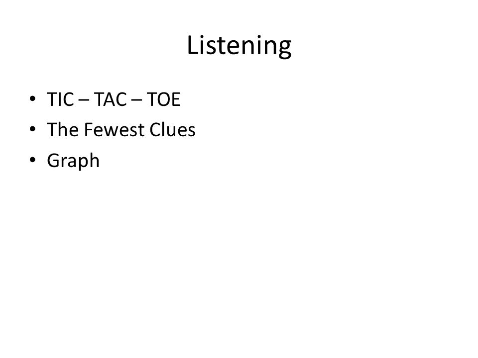 Listening TIC – TAC – TOE The Fewest Clues Graph