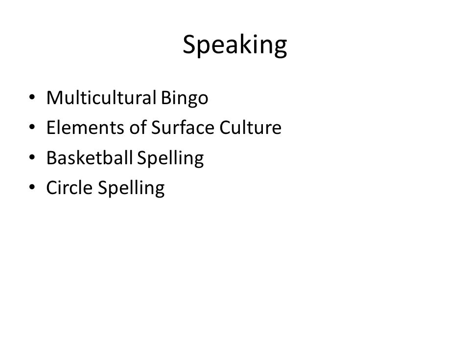 Speaking Multicultural Bingo Elements of Surface Culture