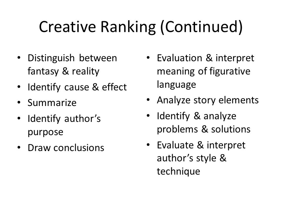 Creative Ranking (Continued)