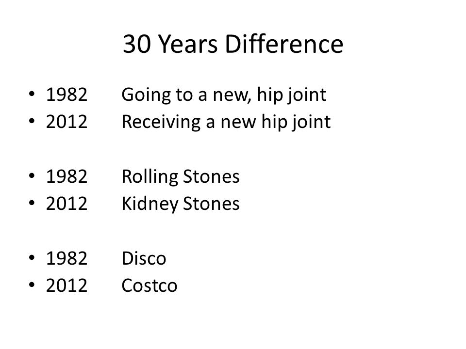 30 Years Difference 1982 Going to a new, hip joint