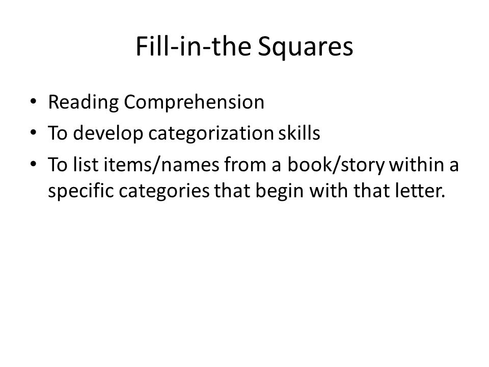 Fill-in-the Squares Reading Comprehension