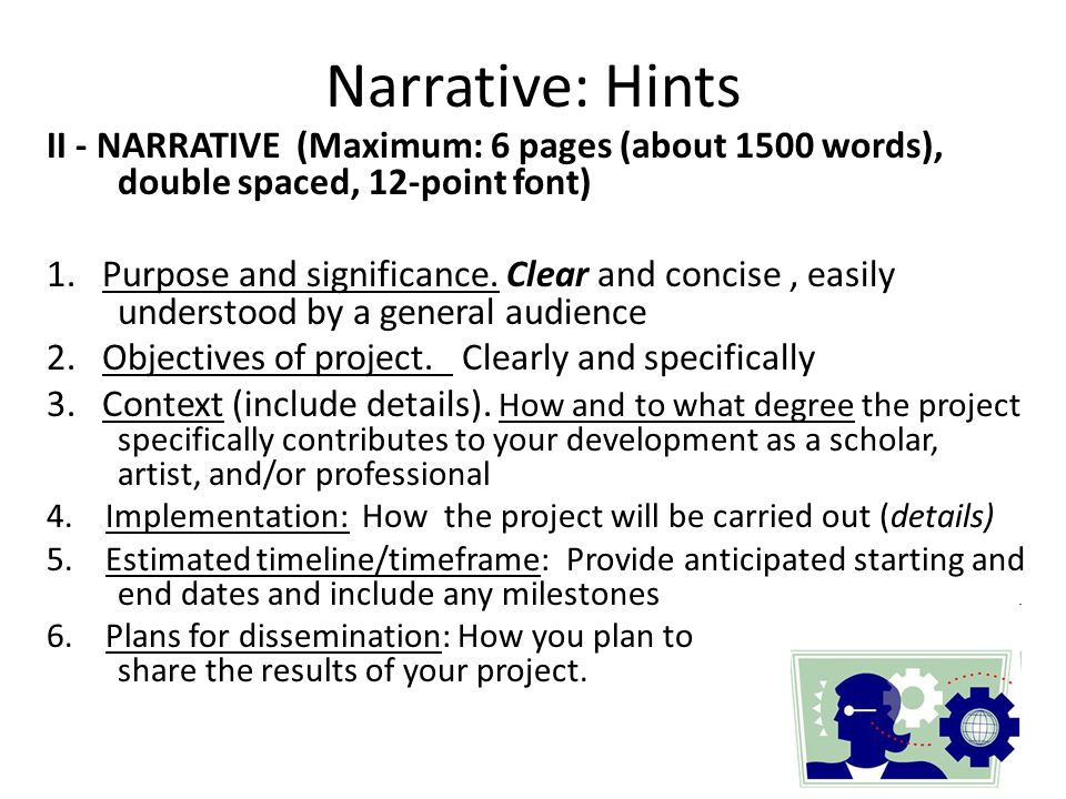 Narrative: Hints II - NARRATIVE (Maximum: 6 pages (about 1500 words), double spaced, 12-point font)