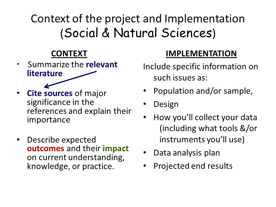 Context of the project and Implementation (Social & Natural Sciences)