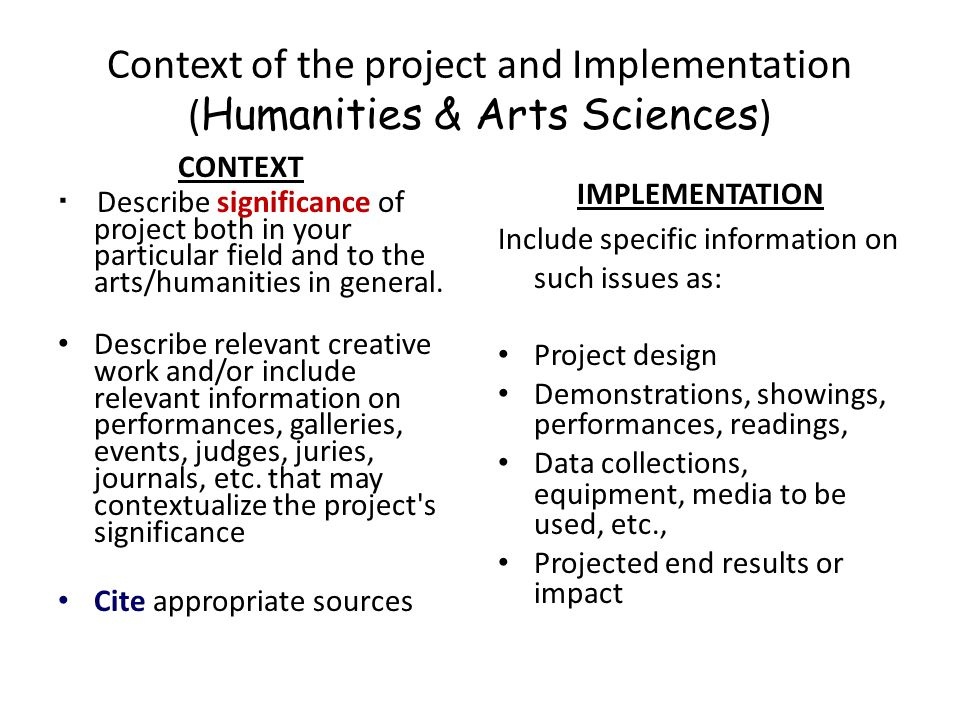 Context of the project and Implementation (Humanities & Arts Sciences)