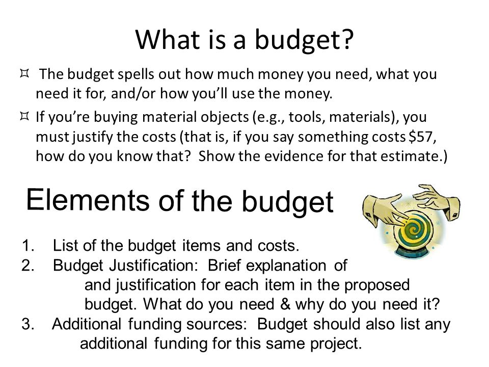 What is a budget Elements of the budget