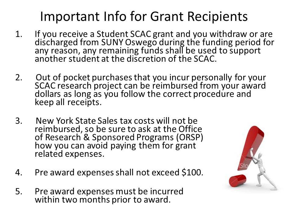 Important Info for Grant Recipients