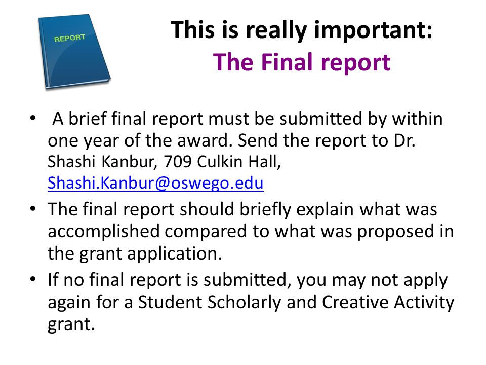 This is really important: The Final report